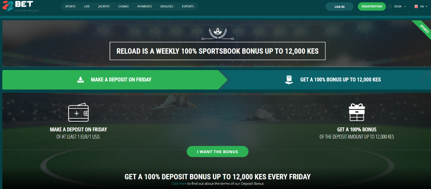 22Bet Friday Reload Bonus screenshot