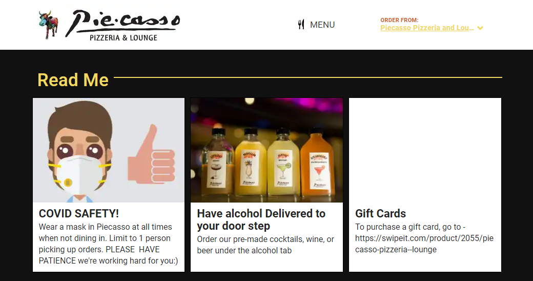 Feature cards with COVID updates, alcohol delivery instructions, and gift card info