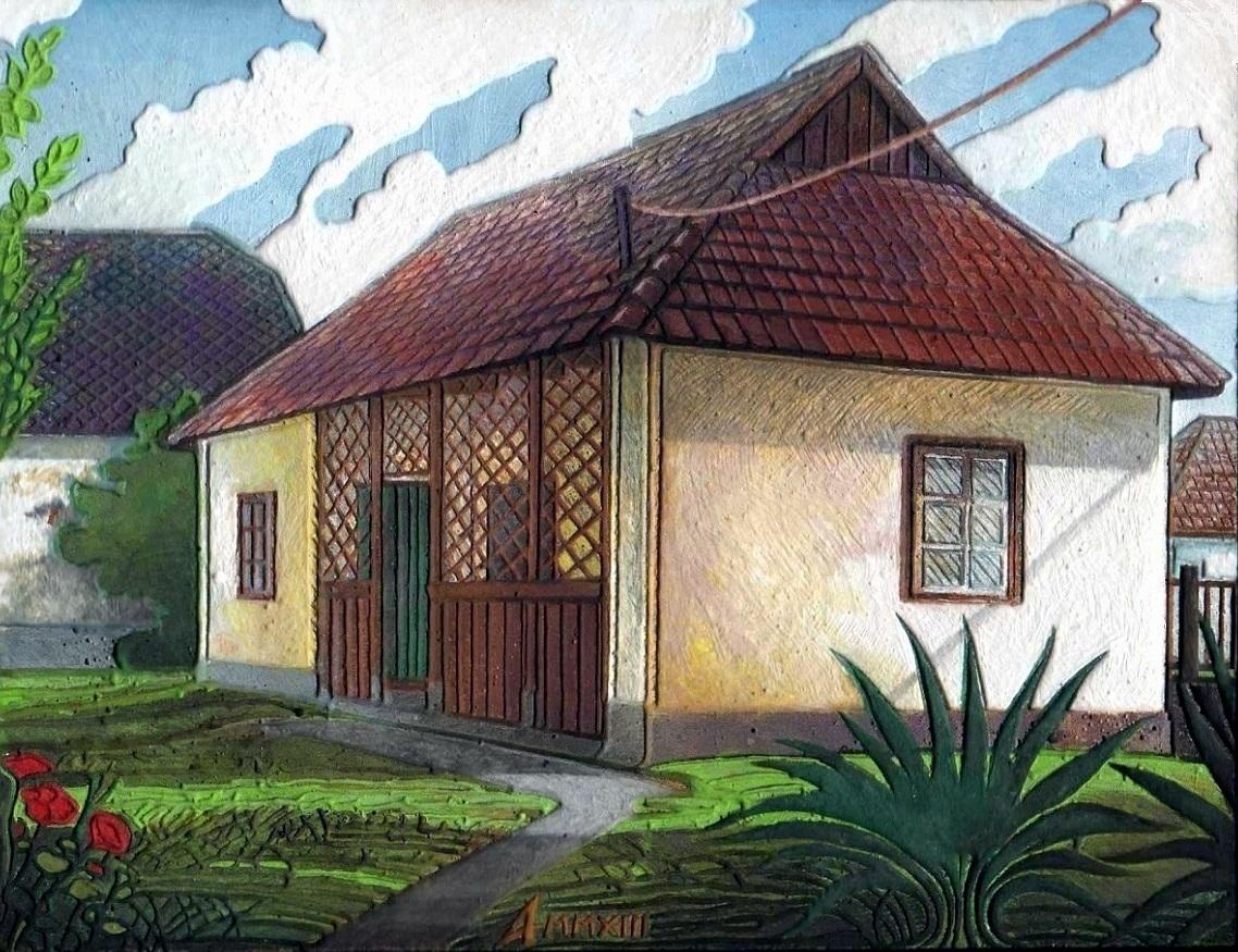 DETAIL YARD, MEZŐKERESZTES CITY II - Miniatura, MMXIII - Plaster engraving and watercolour - 4,33 X 5,91 X 0,39 in.jpg