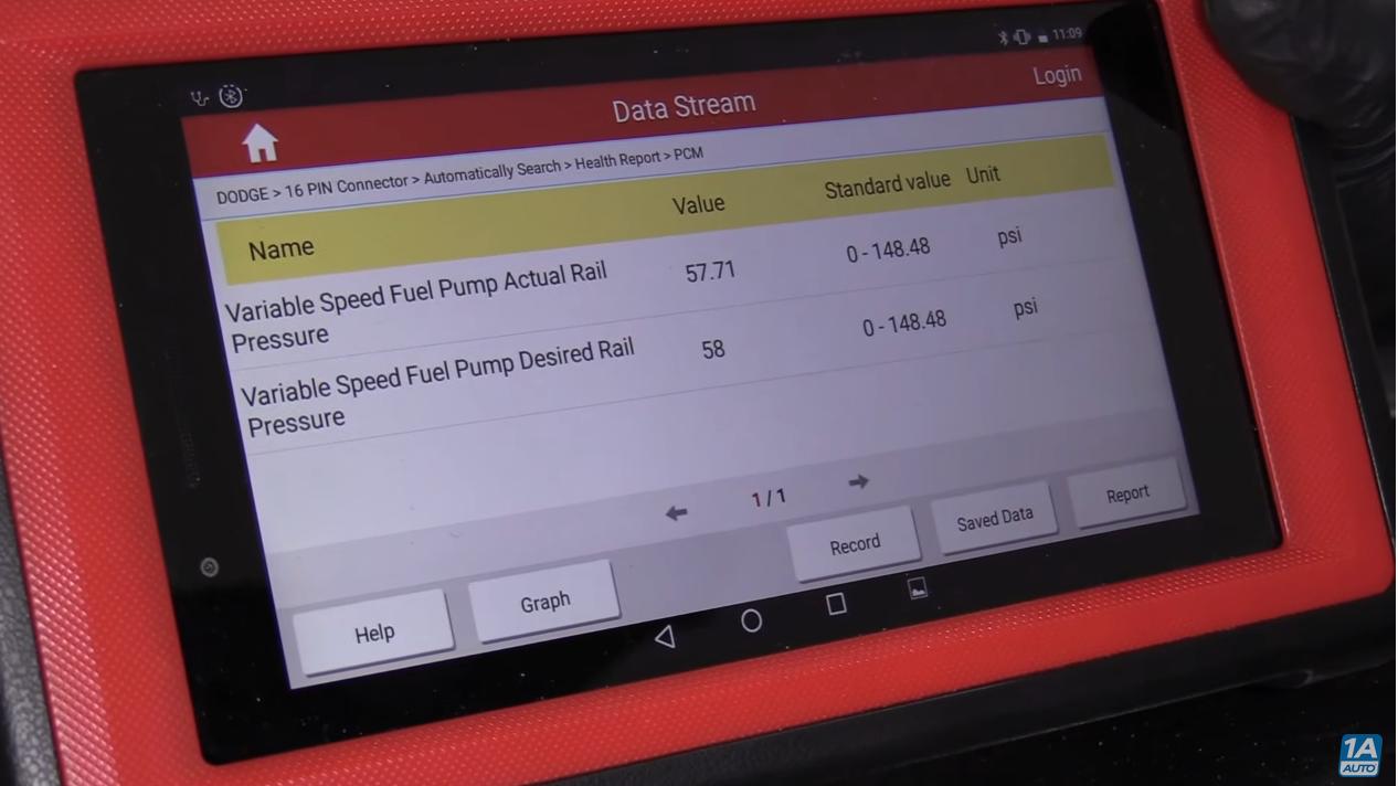 OBDII Scanner showing P018C - Potential Low Fuel Pressure