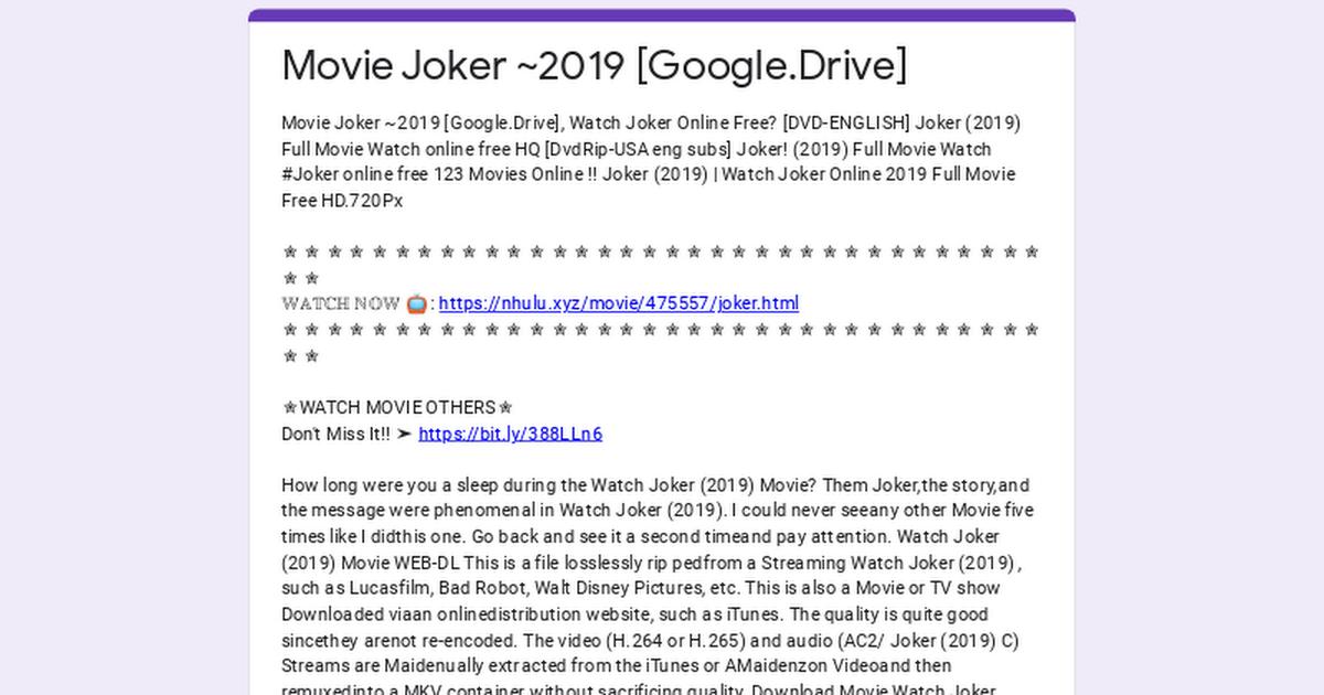Movie Joker ~2019 Google.Drive