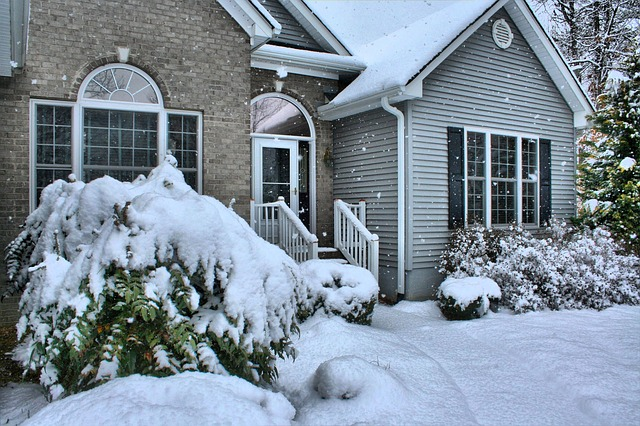 House, Snowfall, Winter, Front Door, Exterior, Home