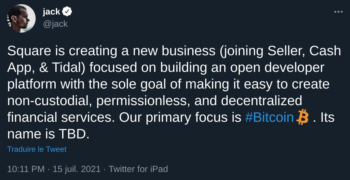 Annonce de Jack Dorsey concernant ses projets Bitcoin