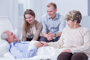 Family supports palliative care patient