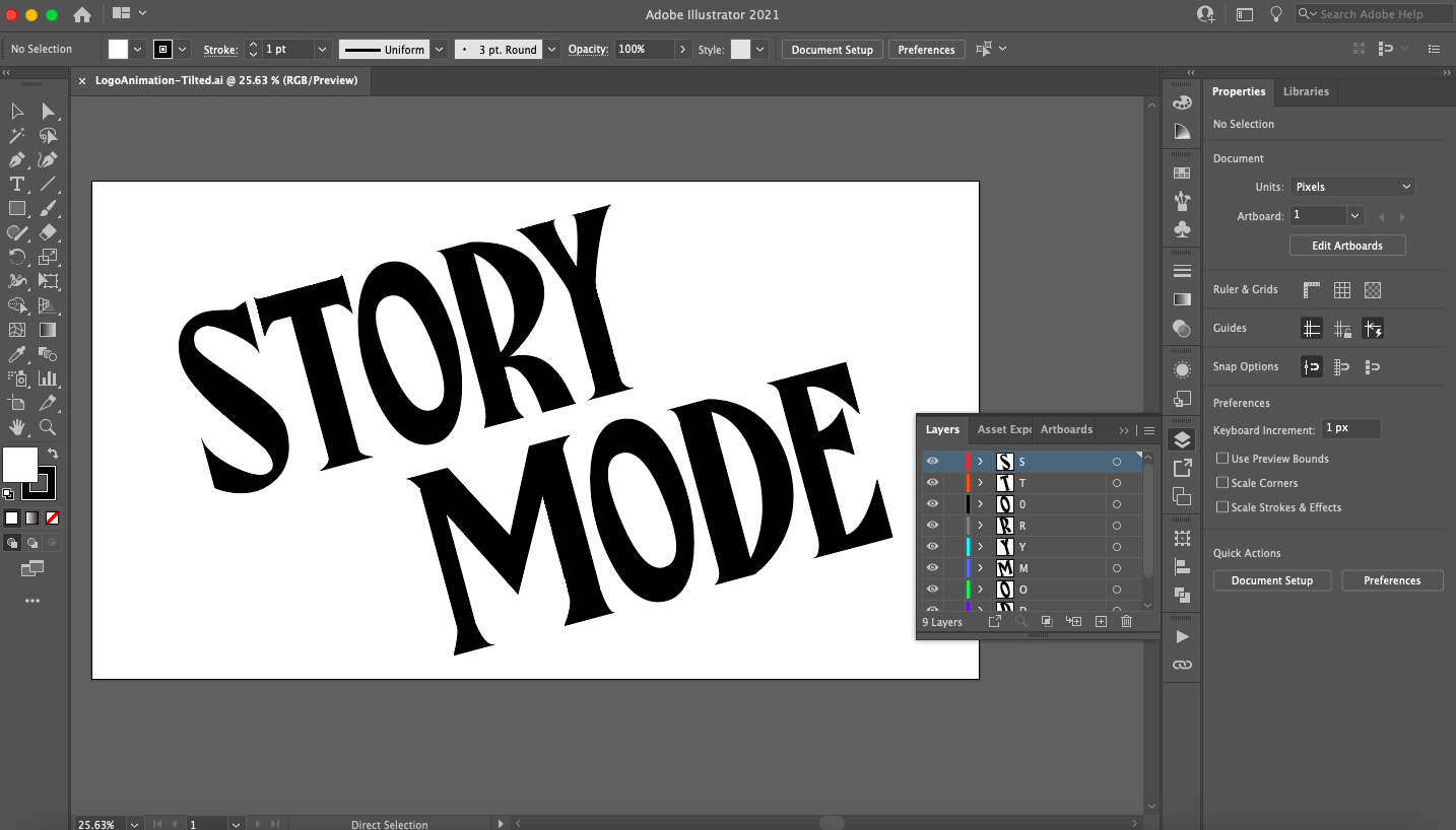 Screenshot of Adobe Illustrator with a logo inside