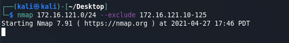 Nmap commands - scan with exclude option. Source: nudesystems.com