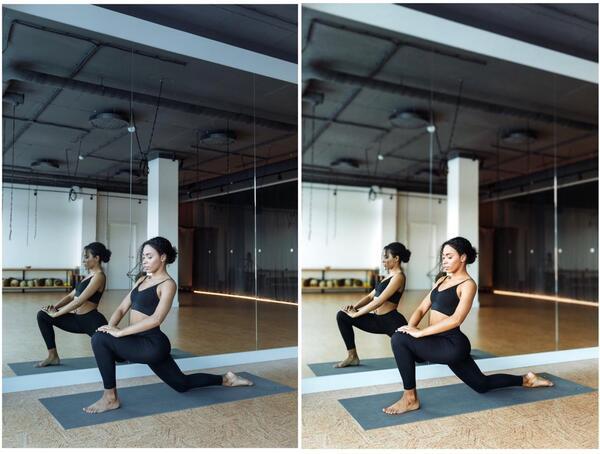 Montagem de duas fotos de uma mulher negra fazendo ioga.