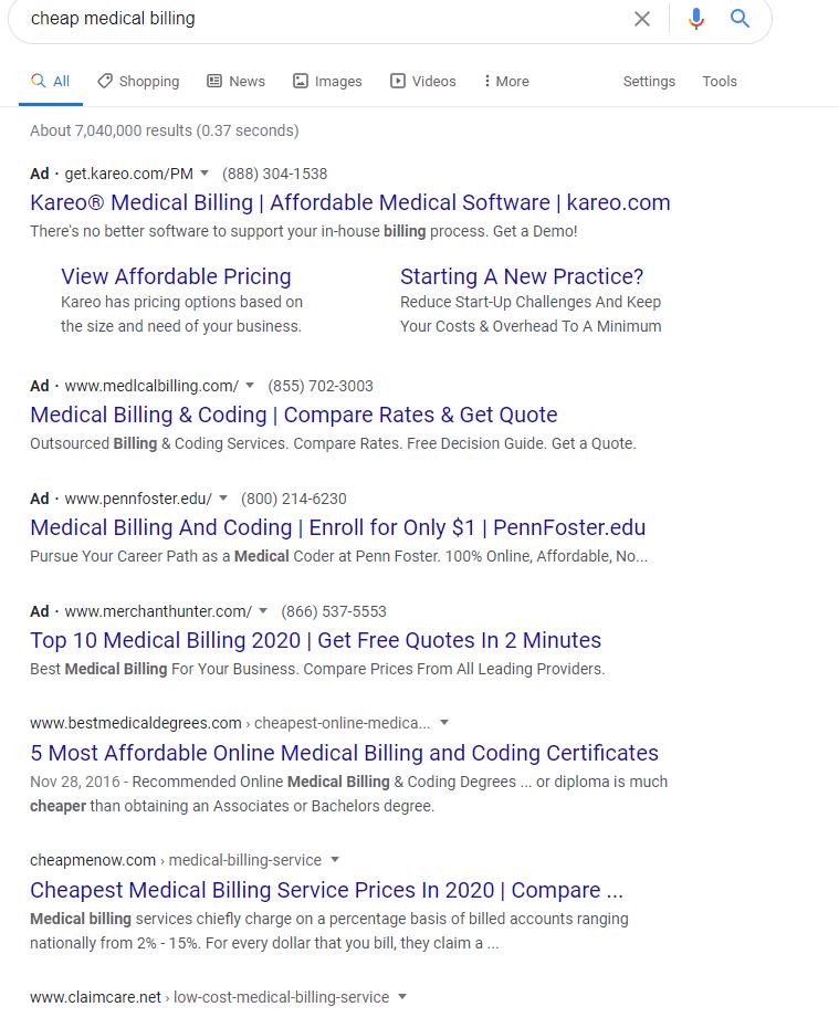 cheap medical billing keywords