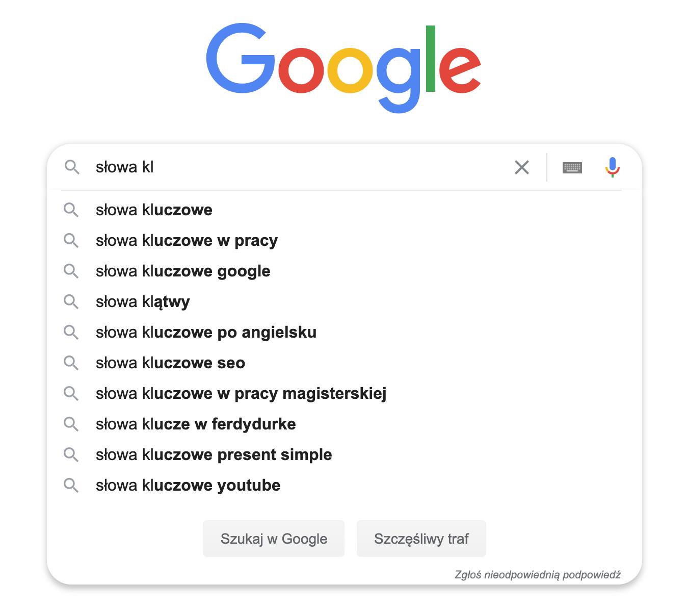 jak znaleźć słowa kluczowe w wyszukiwarce