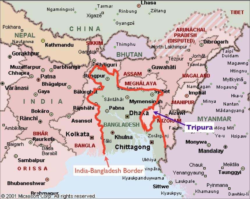 Image result for india bangladesh border map