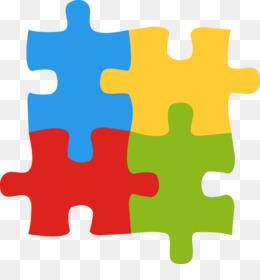 Símbolos do autismo: o símbolo do quebra-cabeça tem o formato de um quadrado e quatro peças (duas em cima e duas embaixo)encaixadas uma na outra. Suas cores são: azul, amarelo, vermelho e verde