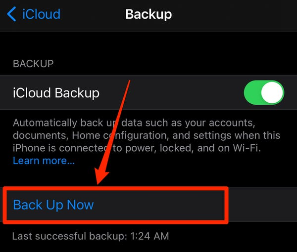 Select 'Back-Up Now' to manually back up all your information immediately on iCloud