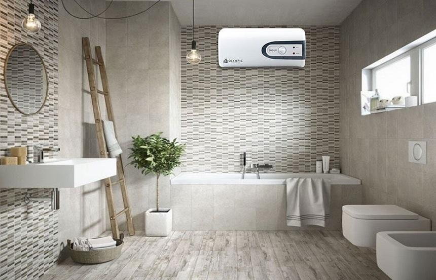 Bình nước nóng với thiết kế hiện đại làm tăng nét sang trọng cho nhà vệ sinh khi lắp đặt