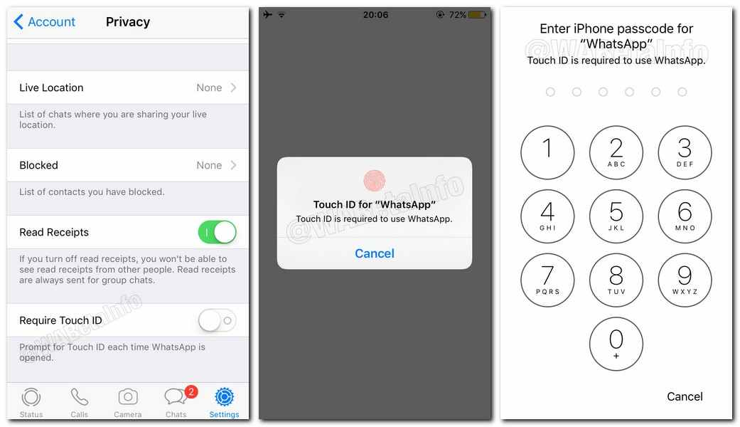 Touch ID and FaceID in its app in iphone whatsapp