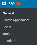 "List of settings options under ""SEO"" in WordPress."