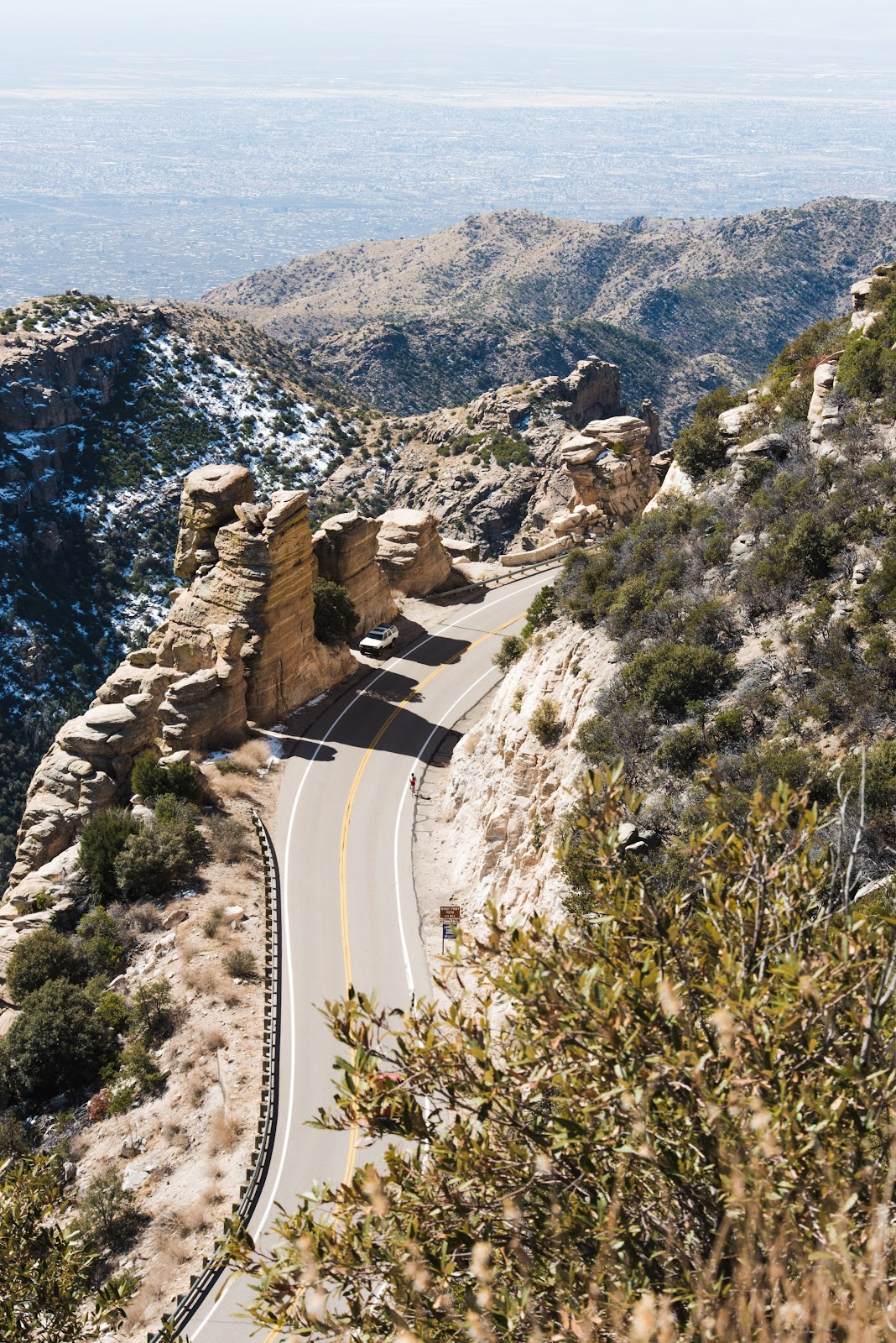 Bicycle climb - Top US Bike Climbs - Mt Lemmon - Hoodoos and cyclist, road, mountains, plains