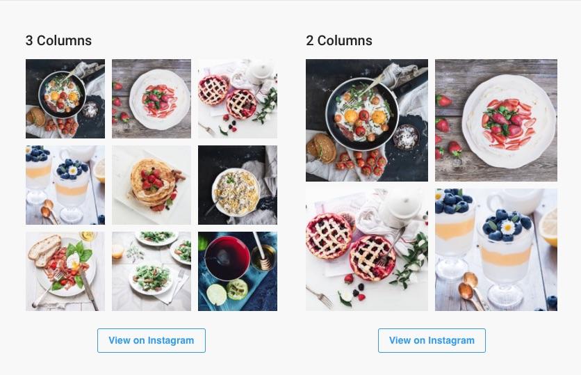 Two instagram feeds side by side created with WPZOOM social feed widget Instagram WordPress Plugin