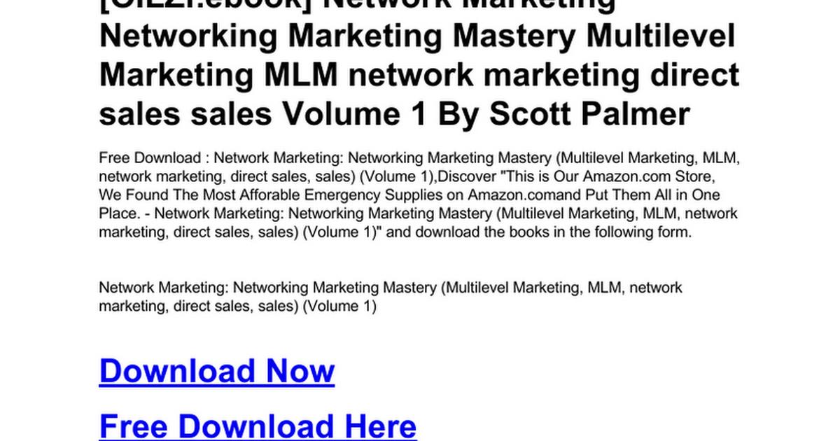 Network Marketing Networking Marketing Mastery Multilevel Marketing