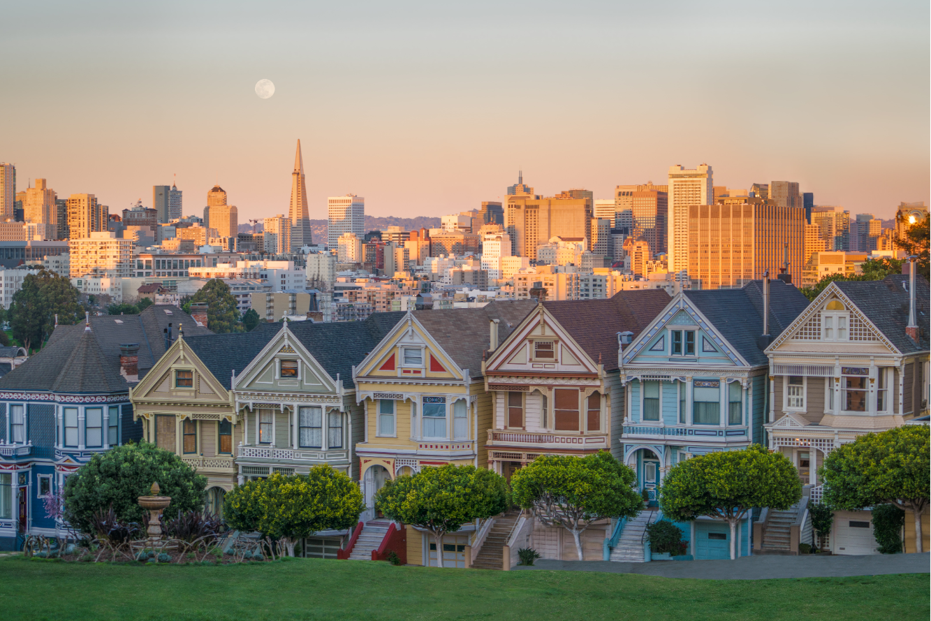 View of the Painted Ladies and the San Francisco financial district from Alamo Square