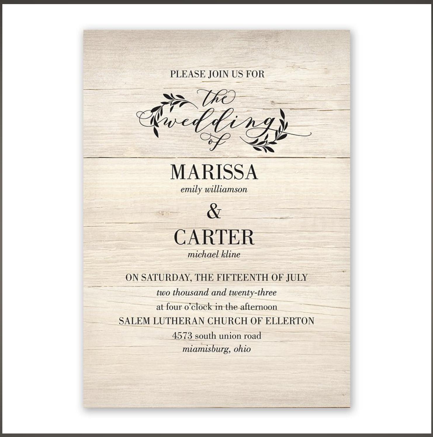 rustic modern wedding invitation