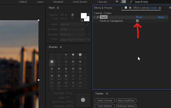 With 'Crown' layer, go to Effect Controls window, check 'Paint on Transparent'