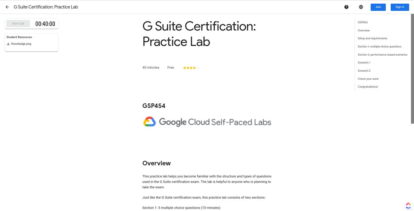 G-Suite Certification: Practice Lab