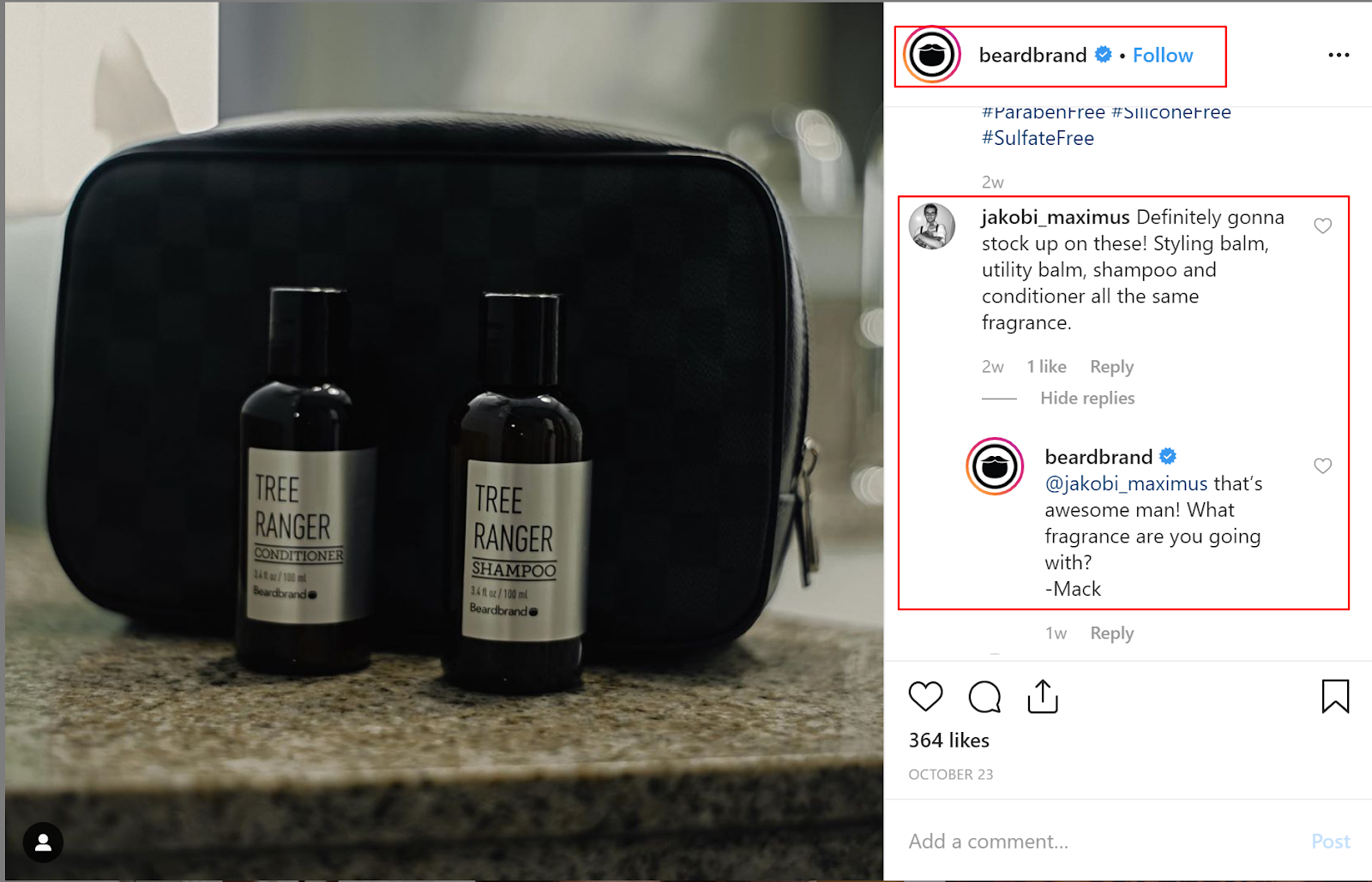 new instagram post featuring Beardbrand products and the brand engaging with followers.