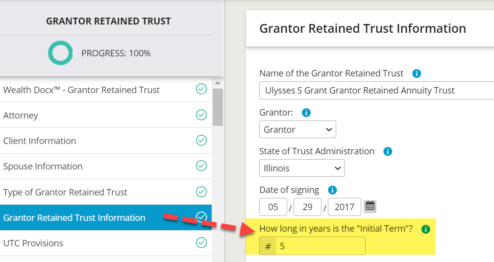 The number of years for the initial GRAT term is entered early in the interview process. Users can click on the blue information icons for additional information.