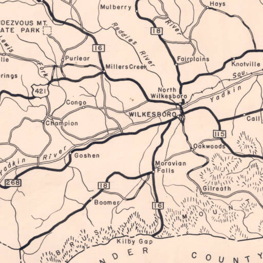 Map of Wilkes County