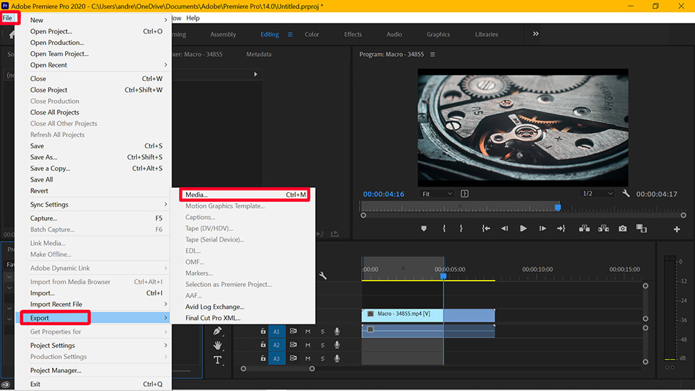 premiere pro export and save media