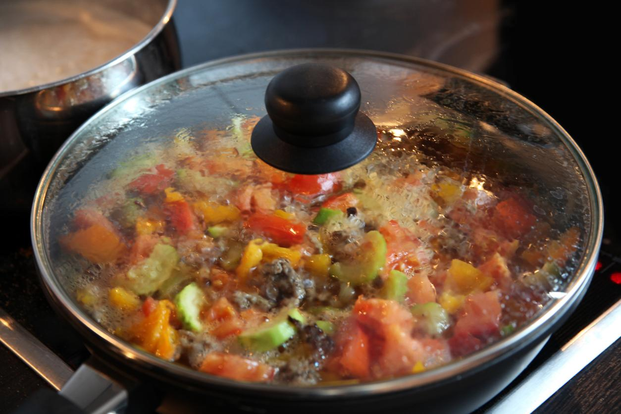 ratatouille cooking in a covered pan