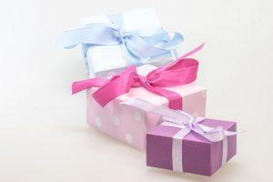 Three presents with bows.