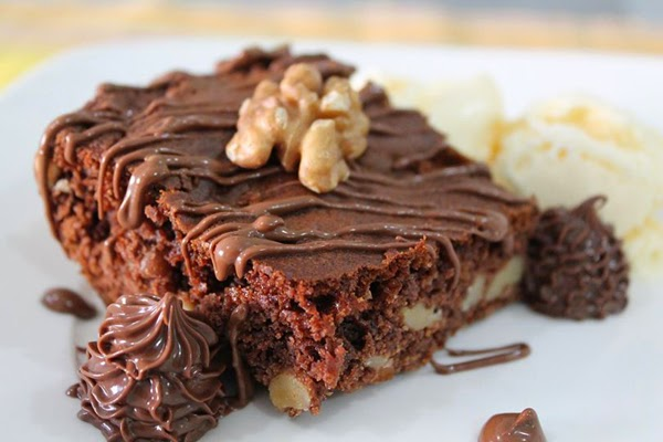 Brownie de Nutella com Nozes