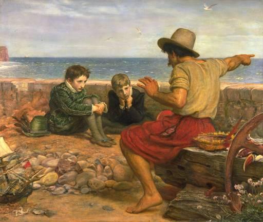 Pintura de John Everett Millais, óleo sobre tela, 1870. Um marinheiro conta ao jovem Walter Raleigh e seu irmão histórias da vida no mar.  Imagem: Wikipedia/reprodução