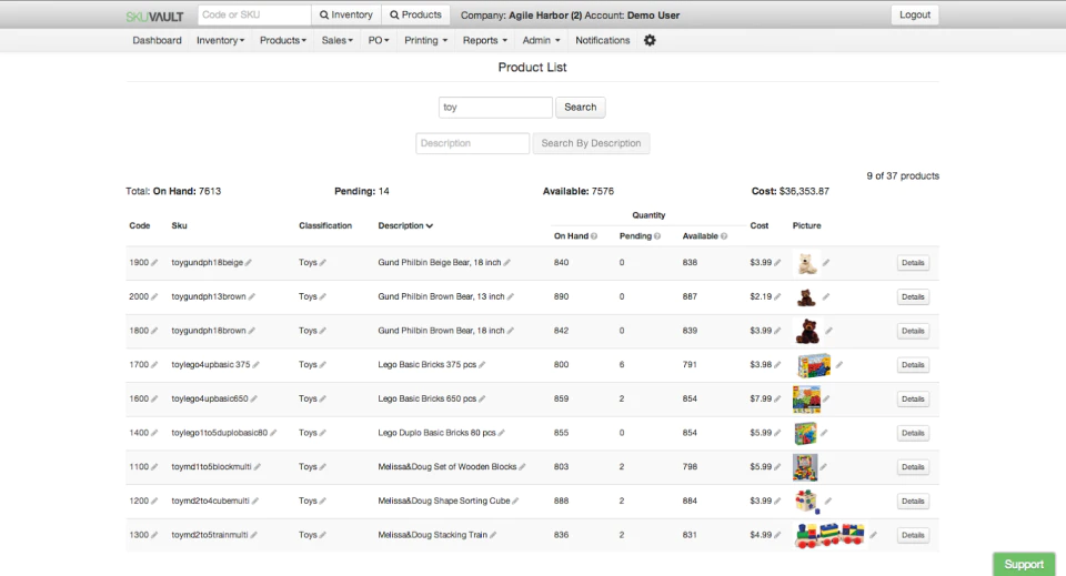 Screenshot of SkuVault Warehouse Management Systems.
