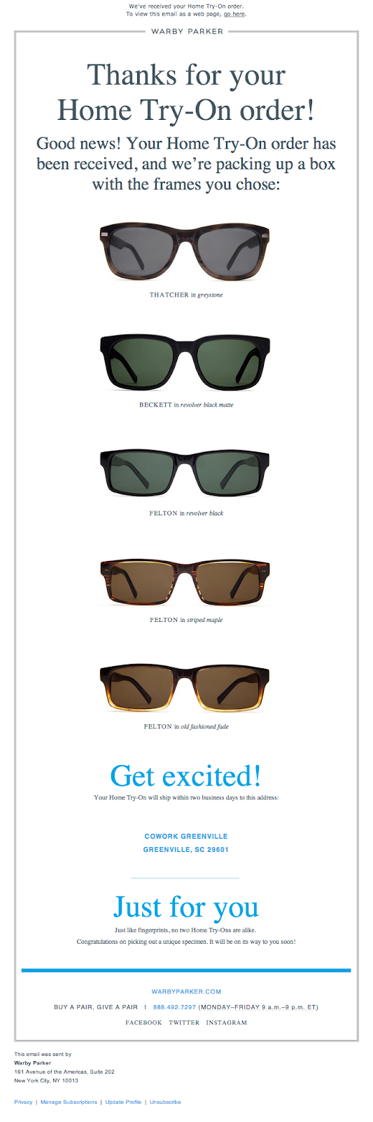 Thank you email for ordering example Warby Parker