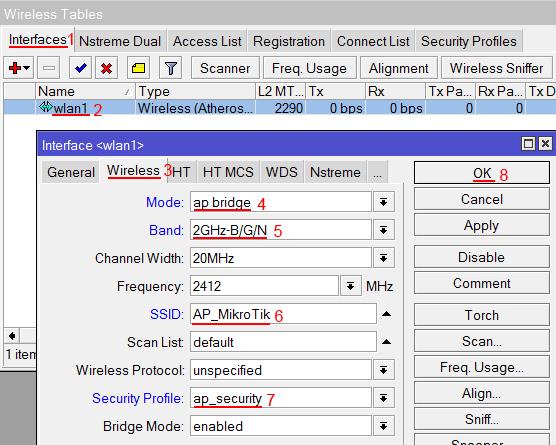 Настройка  беспроводной точки доступа MikroTik