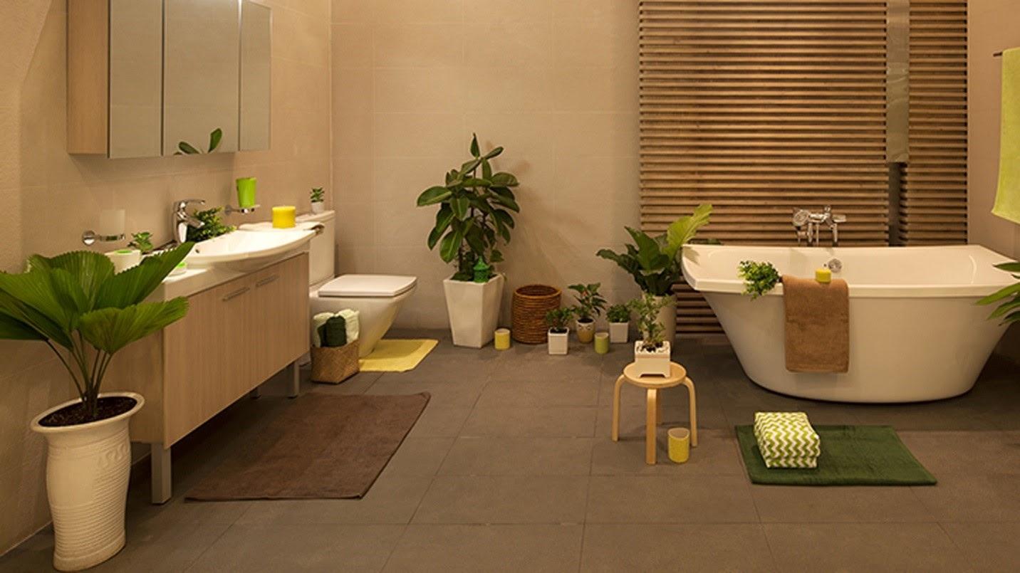 Trang trí bằng cây xanh làm cho phòng tắm trở nên độc đáo