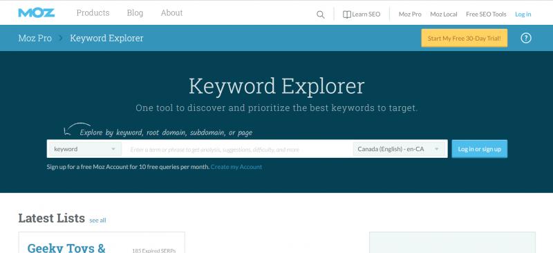 Ảnh chụp màn hình của MOZ Keyword Explorer