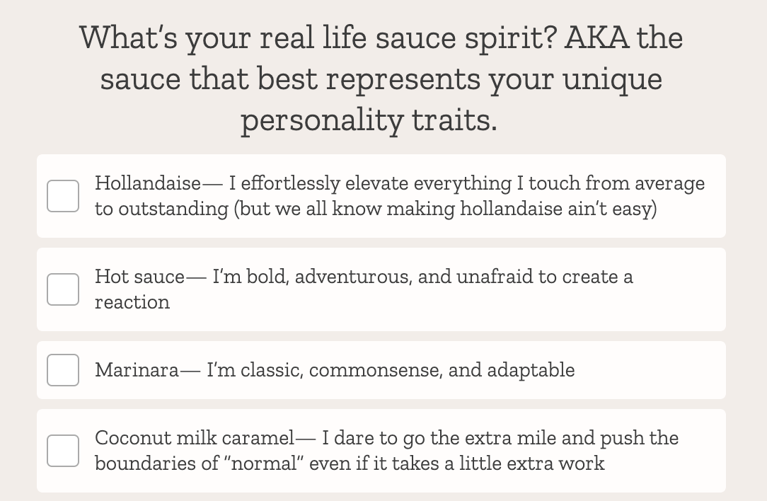 quiz question about special sauce