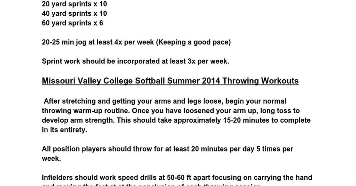 Softball Summer Workouts Google Docs
