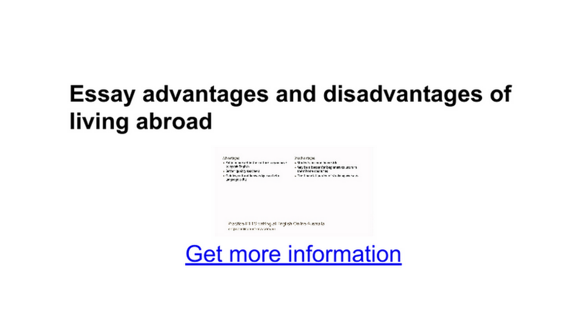 essay advantages and disadvantages of living abroad google docs
