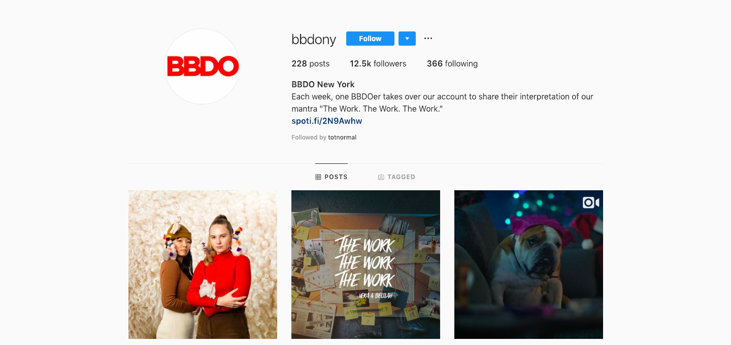 Instagram profile feed with bio text