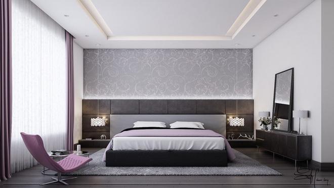 Phòng ngủ màu xám trắng 5