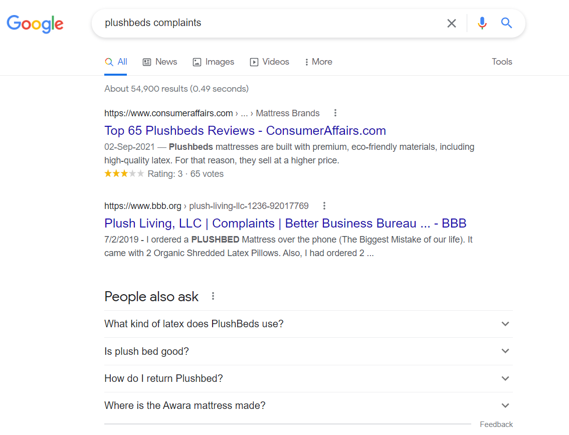 SERP for informational search intent for plushbeds complaints