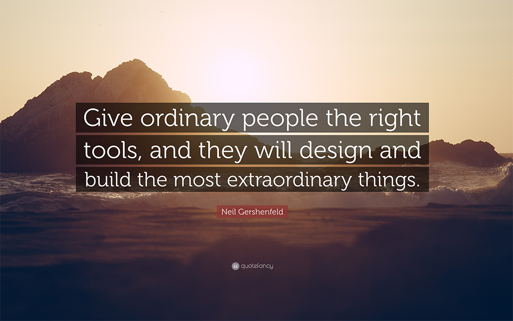 A quote reinforcing the power of using the right tools which is transferrable to product clustering.