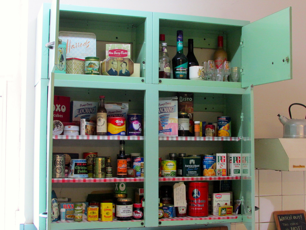 busy kitchen cupboard