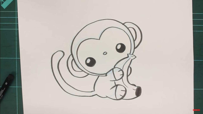 dibujo de mono kawaii
