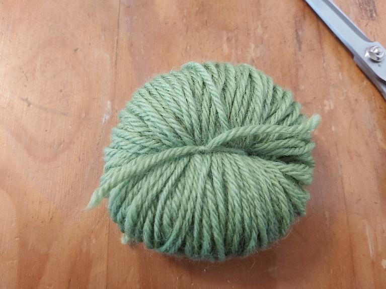 Tied off ball of yarn