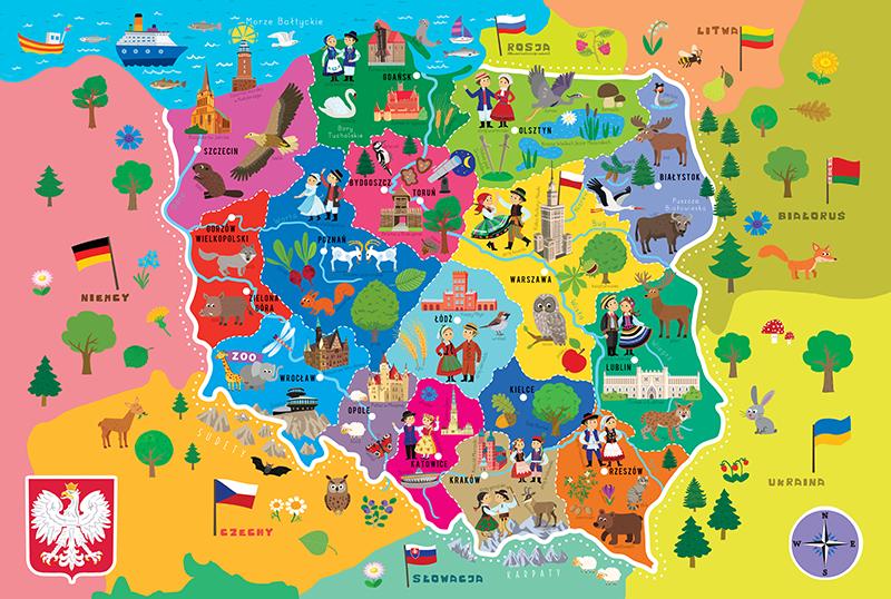 Mapa Polski Dla Dzieci Do Wydruku | Mapa, Kolorowanki, Polska
